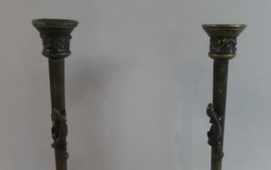 A Pair of Late 19th Bronze Candlesticks of Reeded Column For...