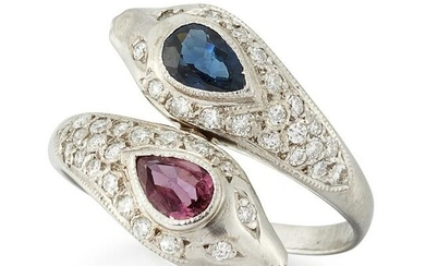 A SAPPHIRE, RUBY AND DIAMOND CROSSOVER RING, a pear-cut