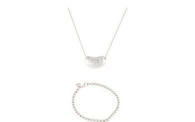 A SILVER BRACELET, together with a pendant