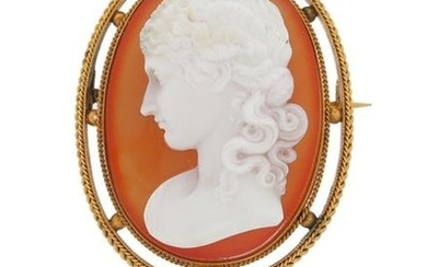 A Victorian hardstone cameo brooch, depicting Clytie in...