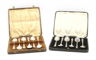 A cased set of six silver teaspoons by Asprey and Co
