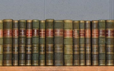 A collection of leather bound books (twenty-seven volumes)