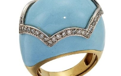 A diamond and enamel ring, of turquoise...