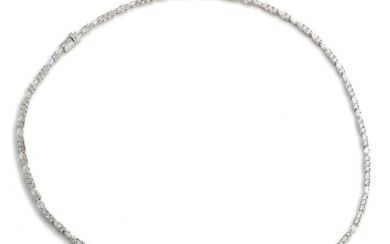 A diamond necklace set with numerous marquise, pear and brilliant-cut diamonds weighing a total of app. 13.75 ct., mounted in 18k white gold.
