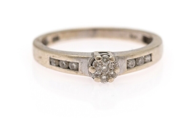 A diamond ring set with numerous brilliant-cut diamonds weighing a total of app. 0.25 ct., mounted in 18k white gold. Size 56.5.