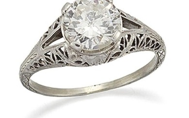 A diamond single stone ring, the brilliant-cut...