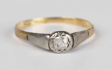 A gold and platinum ring, mounted with a cushion cut diamond, weight 1.3g, ring size approx O.