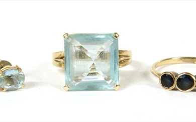 A gold single stone aquamarine ring