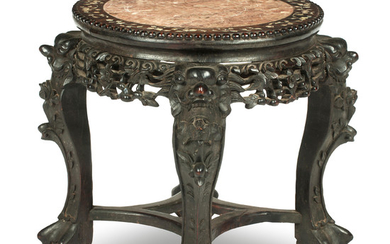 A hongmu jardinière stand with marble top