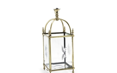 A late Victorian brass and glass hall lantern