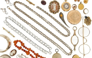A mixed group of jewellery including two shell...