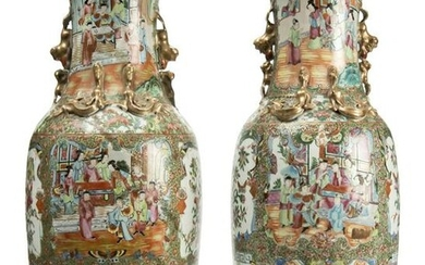 A pair of Chinese Canton Famille Rose Celadon-Ground