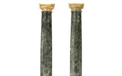 A pair of Italian or French verde antico columnar pedestals, first half 19th century