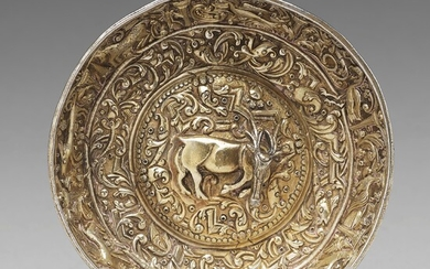 A parcel-gilt silver repoussé bowl, possibly Serbia 17th century, unmarked.