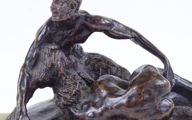 A patinated bronze sculpture, erotic composition, signed wit...