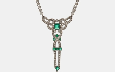 A platinum necklace set with faceted emeralds and old- and eight-cut diamonds