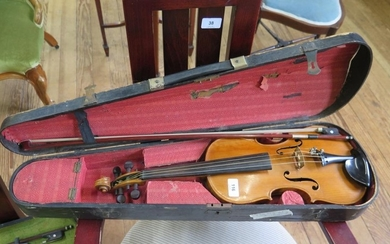 A violin labelled Lowendall Concert Violin, with two piece b...
