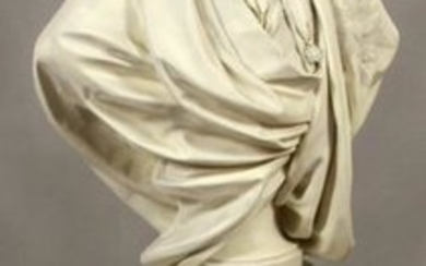 AFTER HOUDON, LOUIS XVI, PLASTER BUST ON MOLDED RESIN P