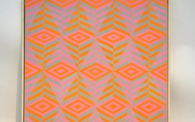 AFTER VICTOR VASARELY ACRYLIC PAINTING GEOMETRIC MODERN