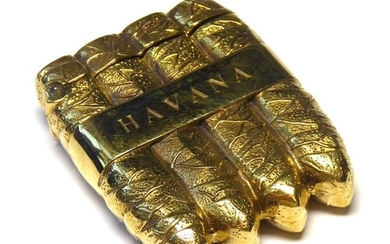 AN 18CT GOLD PLATED NOVELTY VESTA CASE CAST AS HAVANA CIGARS...