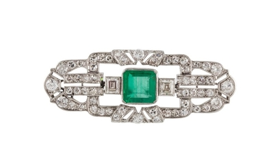 AN ART DECO EMERALD AND DIAMOND BROOCH, boxed, with one squa...