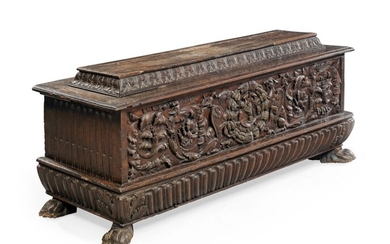 AN ITALIAN CHESTNUT CASSONE, LATE 16TH CENTURY AND LATER