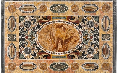 AN ITALIAN PIETRE TENERE AND PIETRA DURA TABLE TOP, ROME EARLY 17TH CENTURY