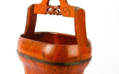 ANTIQUE WOODEN BASKET WITH ENGRAVED HANDLE