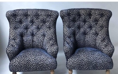 ARMCHAIRS, a pair, Victorian style with blue and silver spot...