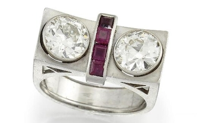 An Art Deco, gold, diamond and ruby...