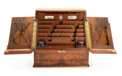 An English walnut travel writing box with mechanical drawer. Late 19th century. H. 34. W. 34. D. 25 cm.