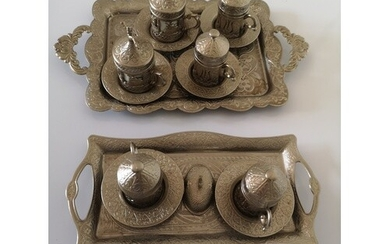 An Islamic Base Metal Teaset. Vintage. Compring two trays an...