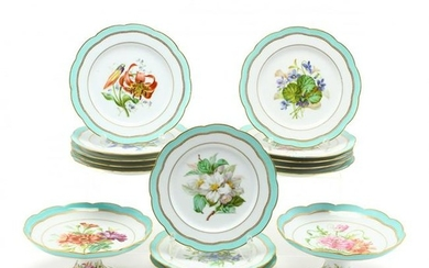 Antique French Hand-Painted Porcelain Dessert Service