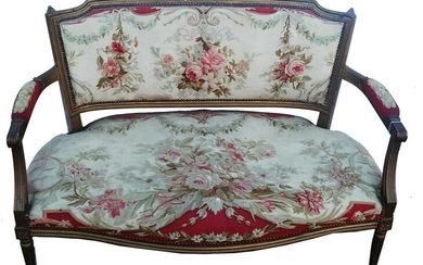 Antique French Tapestry Gilt Wood Settee