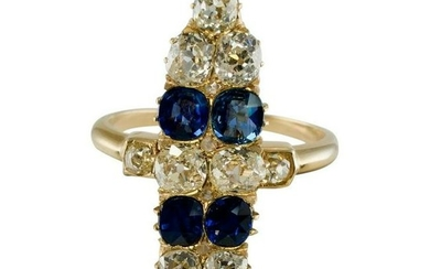 Antique Old Mine Diamond Ceylon Sapphire Ring 14K