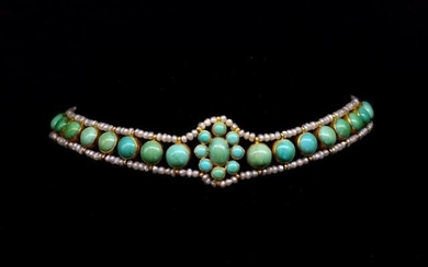 Antique Turquoise, pearl and yellow gold choker bezel set tu...