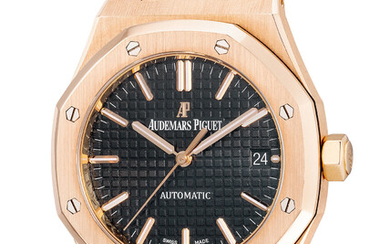 Audemars Piguet, Ref. 15450OR.OO.D002CR.01 A fine and attractive pink gold wristwatch with center seconds, date, warranty and box