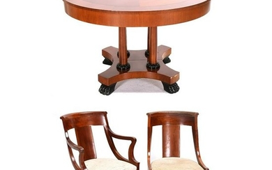 Baker Empire Style Mahogany Dining Suite.