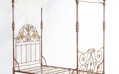 Bed with canopy in painted iron, probably French, late 19th Century.