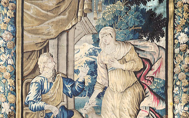 """Bible scene"", French tapestry in Aubusson wool, late 17th Century-first half of the 18th Century."