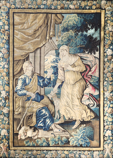 """""""Bible scene"""", French tapestry in Aubusson wool, late 17th Century-first half of the 18th Century."""