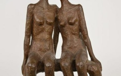 Bronze Sculpture of two females seated on a bench