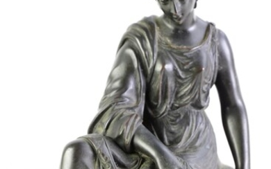 Bronze figure of a lady, after Michel (H25cm)