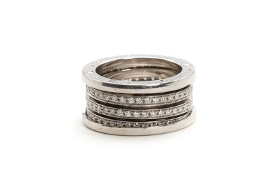"Bulgari: ""B.Zero"". A diamond ring set with numerous brilliant-cut diamonds, mounted in 18k white gold. Size 57. Weight app. 14 g."