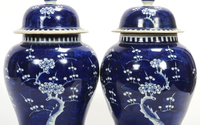 "CHINESE BLUE AND WHITE PORCELAIN COVERED GINGER JARS PAIR H 12"" DIA 8 1/2"""