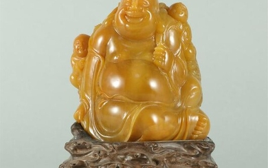 CHINESE TIANHUANG STONE CARVED LAUGHING BUDDHA STATUE
