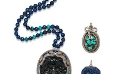 COLLECTION OF SILVER AND HARDSTONE JEWELRY