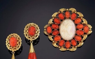 CORAL SET FORMED BY A TWIG NECKLACE, LONG EARRINGS AND A CARVED BROOCH AND FRAMES IN 18K YELLOW GOLD. Price: 300,00 Euros. (49.916 Ptas.)