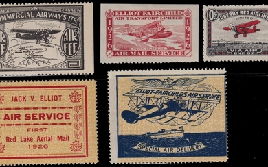 Canada 1920s Semi-Official Airmail mint group of ten items, all hinged ( a few h.r.), represent...