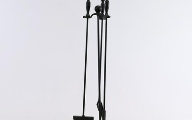 Cast Iron Fireplace Tools Set on Stand